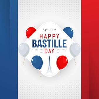 Gelukkige bastille-dagbannerviering in frankrijk vectorillustratie