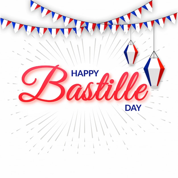 Gelukkige bastille-dagtekst met bunting vlaggen.