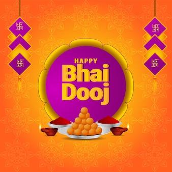Gelukkige bhai dooj-achtergrond en creatieve diya