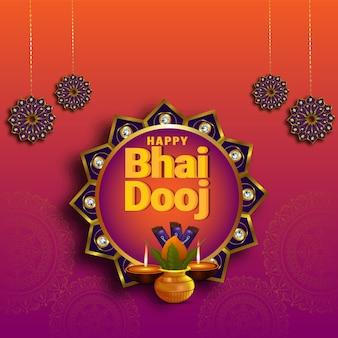 Gelukkige bhai dooj achtergrond met creatieve kalash en diya