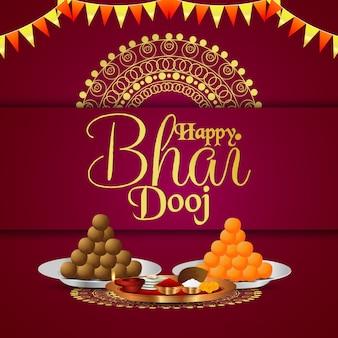 Gelukkige bhai dooj festivalvieringskaart met puja thali