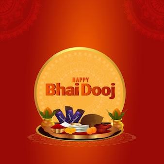 Gelukkige bhai dooj vectorillustratie met creatieve pooja thali en sweet