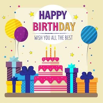 Gelukkige birthaday met cake en ballon kaart