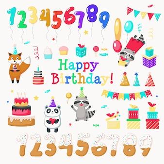 Gelukkige birthdayhand getrokken pictogramreeks