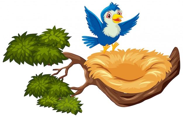 Gelukkige blauwe vogel die naar leeg nest vliegt