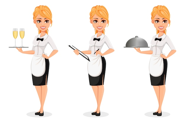 Gelukkige blonde serveerster, set van drie poses