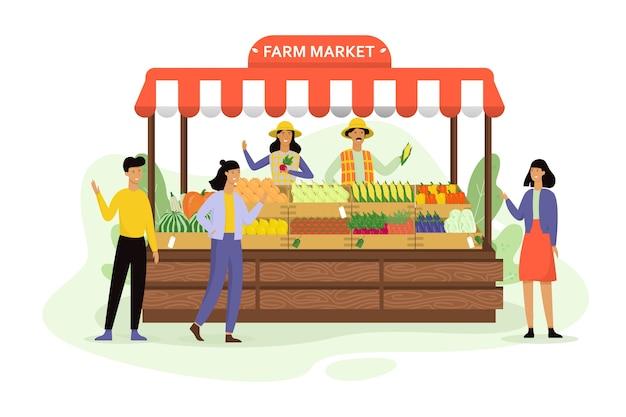 Gelukkige boer verkoopt verse biologische oogst van boerderij