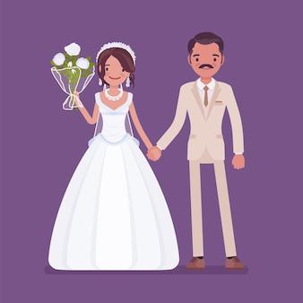 Gelukkige bruid, bruidegom hand in hand op huwelijksceremonie