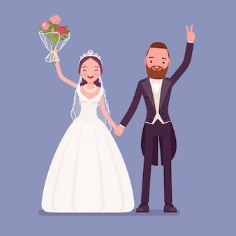 Gelukkige bruid en bruidegom op huwelijksceremonie