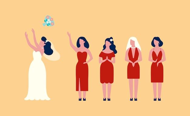 Gelukkige bruid in de witte jurk boeket gooien
