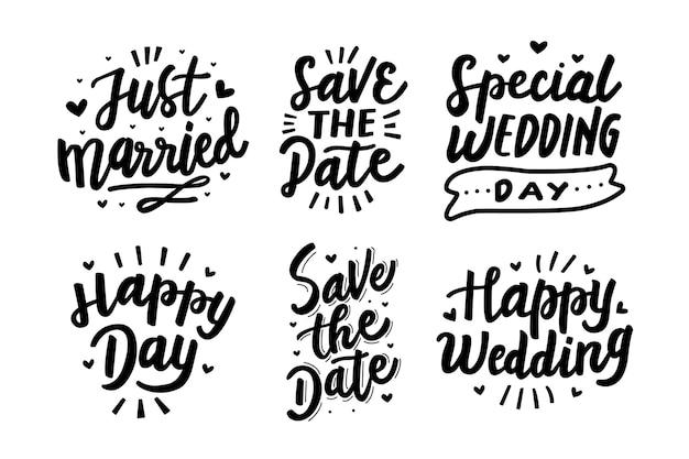 Gelukkige bruiloft belettering set