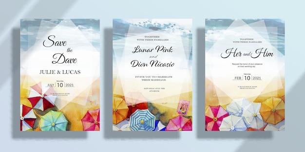 Gelukkige bruiloft uitnodigingskaart set met aquarel paraplu zeegezicht schilderijen bruiloft in de zomer
