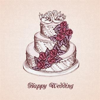Gelukkige bruiloft wenskaart met cake versierd met room bloem krans en zwanen vector illustratie