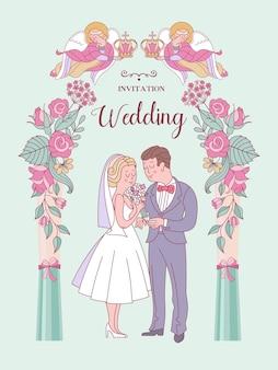 Gelukkige bruiloften trouwkaart trouwkaart bruid en bruidegom leuke vectorillustratie