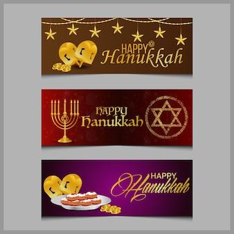 Gelukkige chanoeka-wenskaart en banner met creatieve kandelaar