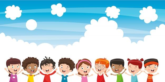 Gelukkige childrenvector-illustratie van gelukkige kinderen