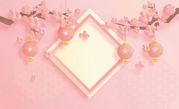 Gelukkige chinese nieuwe jaarachtergrond, met hangende lantaarn en bloemen