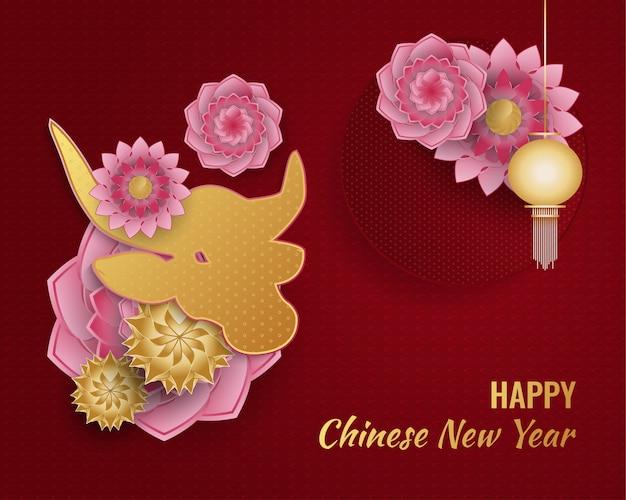 Gelukkige chinese nieuwe jaarbanner met gouden os en lantaarn en kleurrijke bloemornamenten