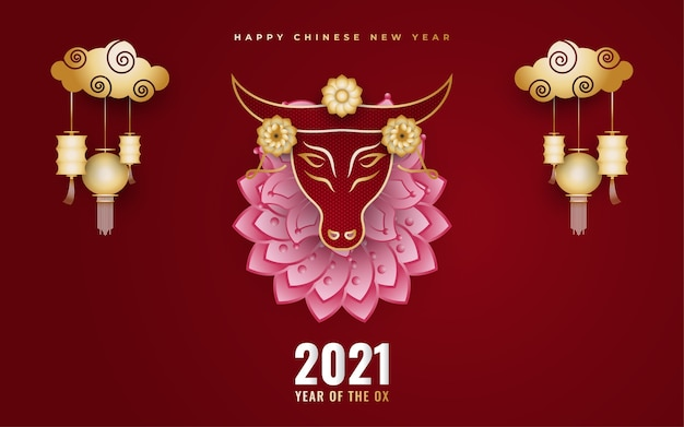 Gelukkige chinese nieuwe jaarbanner met gouden os en lantaarns en kleurrijke bloemornamenten