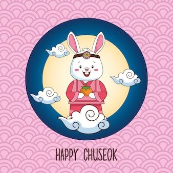 Gelukkige chuseokviering met konijn dat oranje fruit in volle maan opheft