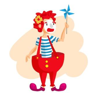 Gelukkige circusclown. cartoon afbeelding. man jongleren ballen. circusshow. vintage-stijl.