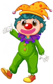 Gelukkige clown in groen kostuum en grappige hoed