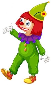 Gelukkige clown in groene jumpsuit op witte achtergrond