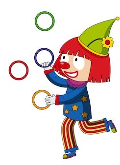 Gelukkige clown jonglerende ringen