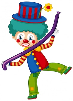 Gelukkige clown met purpere ballon op witte achtergrond
