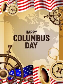 Gelukkige columbus-dag posterillustratie