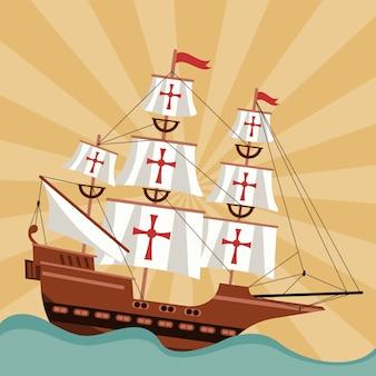 Gelukkige columbus-dagviering met schip en oceaanscène.