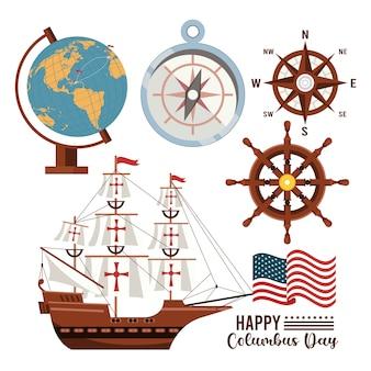 Gelukkige columbus-dagviering met zeilboot en vastgestelde pictogrammen.