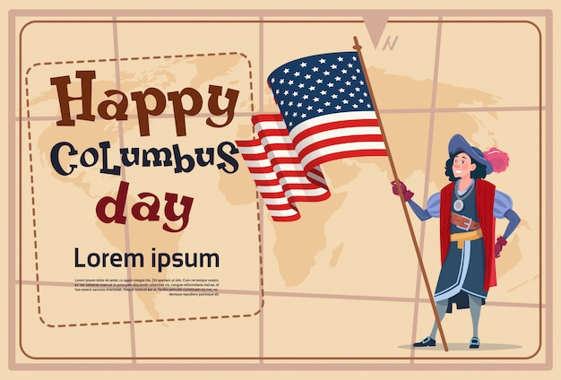 Gelukkige columbus day america discover holiday poster greeting card