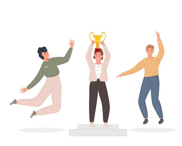 Gelukkige competitiekampioenen met gouden beker succesmensen winnaars bekroond met trofee