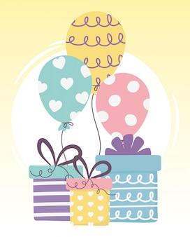 Gelukkige dag, geschenkdozen en ballonnen viering illustratie