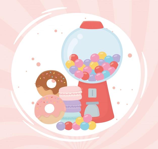 Gelukkige dag, gumball machine donuts karamel cartoon afbeelding