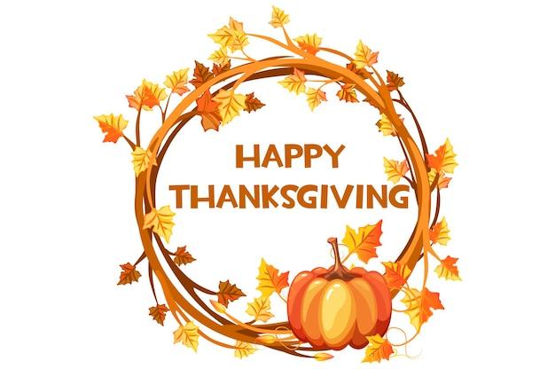 Gelukkige dag thanksgiving, illustratie oranje krans met pompoen