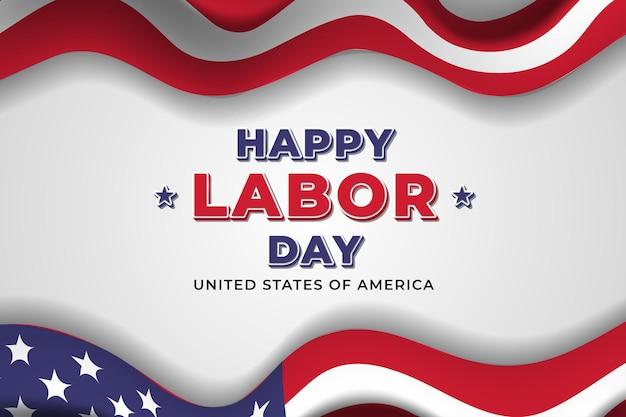 Gelukkige dag van de arbeid achtergrond met amerikaanse vlag premium vector