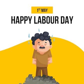 Gelukkige dag van de arbeid banner ontwerpsjabloon