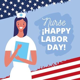 Gelukkige dag van de arbeid kaart met cartoon illustratie van de verpleegster