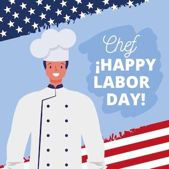 Gelukkige dag van de arbeid kaart met chef-kok cartoon afbeelding