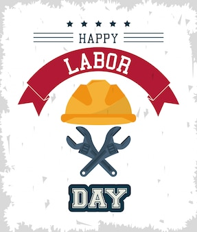 Gelukkige dag van de arbeid met beschermende helm en gekruiste steekringsleutels