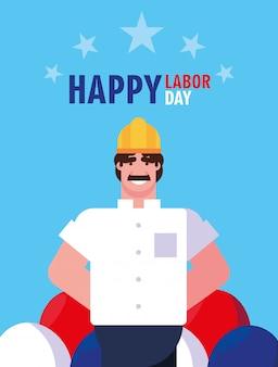 Gelukkige dag van de arbeid met de bouw van de mensenarbeider