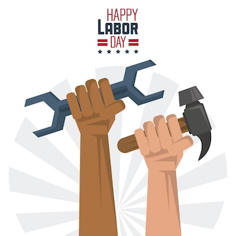Gelukkige dag van de arbeid met de handen met gereedschap moersleutel en hamer