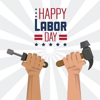 Gelukkige dag van de arbeid met de handen met gereedschap schroevendraaier en hamer