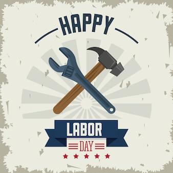 Gelukkige dag van de arbeid met gereedschap hamer en sleutel gekruist