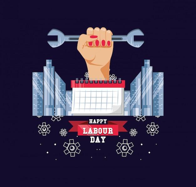 Gelukkige dag van de arbeid met hand en moersleutel