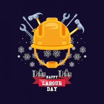 Gelukkige dag van de arbeid met helm beveiliging en hulpmiddelen
