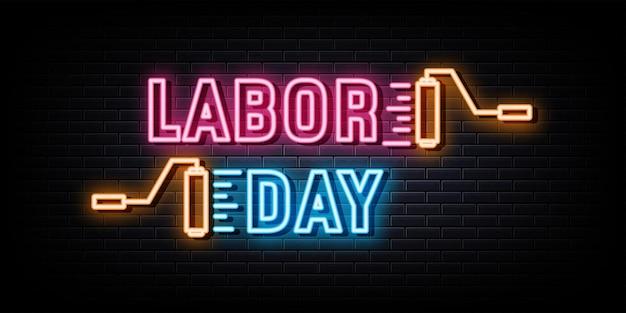 Gelukkige dag van de arbeid neonreclame neonsymbool