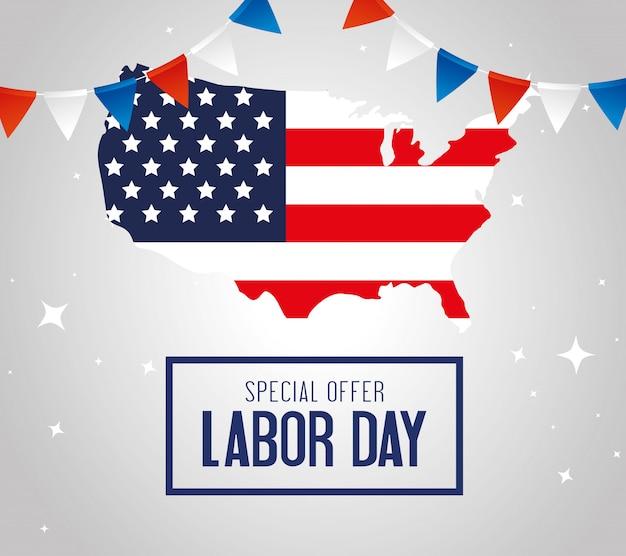 Gelukkige dag van de arbeid vakantie banner met kaart en de nationale vlag van de verenigde staten